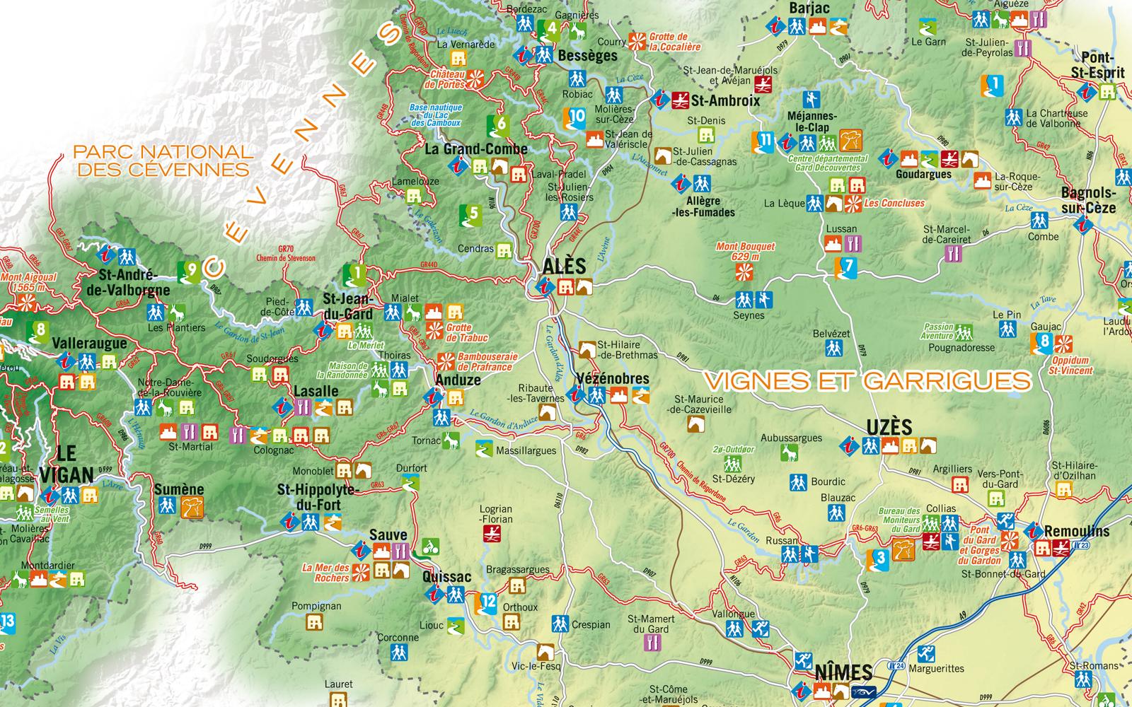 Info carte du gard touristique for Carte touristique